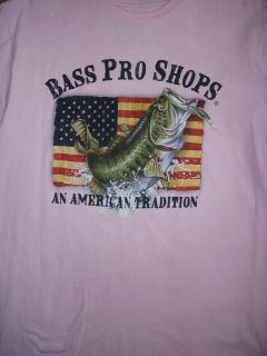 Bass Pro Shops An American Tradition Pink T shirt USA Flag with fish