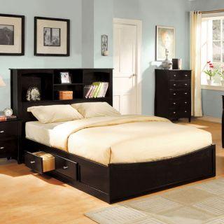 Solid Wood Espresso Finish Platform Bed Frame Set