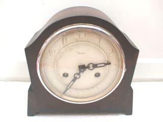 Deco Bentima Oak Case Coroner Striking Movement Mantle Clock 9H 9W