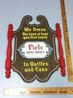 MJ8 PIELS BEER SIGN VINTAGE 3D TACKER WOOD BREWERY BAR TAVERN OLD