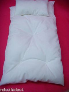 White Tuffed Mattress and Pillow for American Girl Doll