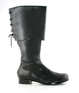 Mens Black Lace Cuff Pirate Captain Boots S 8 9 M 10 11 L 12 13