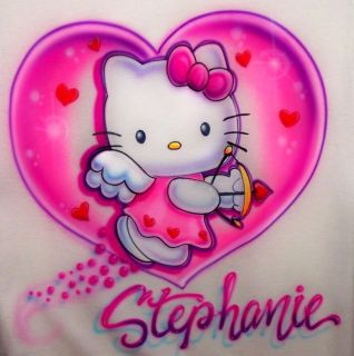 Airbrushed Hello Kitty Shirt any size Personalized w/ your Name
