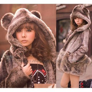 Japan Fashion Womens Cute Bear Ear Hooded Faux Fur Winter Long Coats