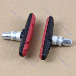 Pair Bicycle Cycling Bike V Brake Holder Pads Shoes Blocks Red