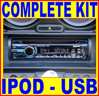 SONY IPOD AM/FM CD PLAYER RETRO RADIO + INSTALL KIT + SPEAKERS HARLEY