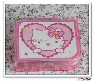 Hello Kitty Heart Pattern Plastic Portable Contact Lens Case Boxs Sets