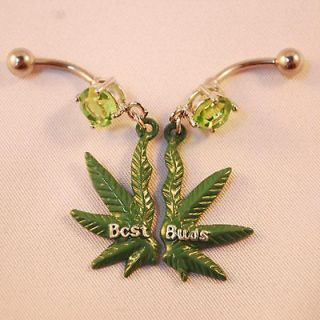 Belly ring pot marijuana leaf navel green weed cz best buds budz set