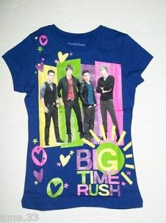 NWT Girls BIG TIME RUSH Blue T Shirt sz 6 small Carlos James Logan