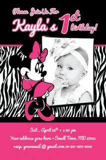 ZEBRA PRINT Printable 1st Birthday Party Invitation Baby Shower DIY