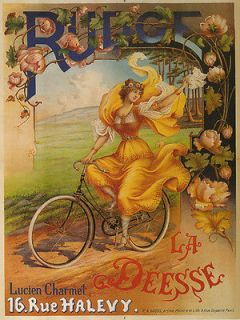 RUDGE Fashion Lady Bicycle Bike Yellow Dress Large Vintage Poster