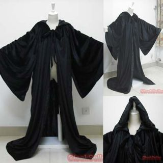 Black Velvet Cape Hooded Cloak Medieval Wizard Robes The Lord of the