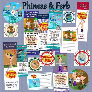 Phineas & Ferb Birthday Invite Thank U Cards Candy Wrap Sticker