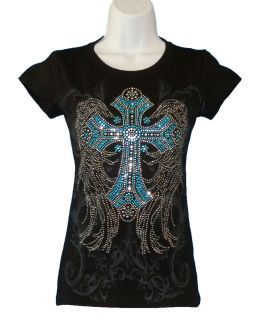 Brand Womens Black T Shirt Rhinestone Cross Angel Wings Blue Stones