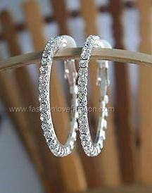 Silvertone Clip On Rhinestone Hoop Earrings L To 2XL