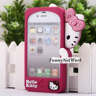 Cute Hello kitty Silicone Rubber Soft case cover for iphone 4 4S 4G