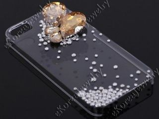 Bling Champagne Gold Pear Crystal Clear Cell Phone Back Case for