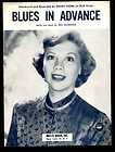 Blues In Advance 1952 DINAH SHORE Vintage Sheet Music