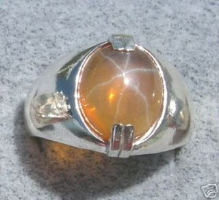 MENS BIG LINDY LINDE GOLD STAR SAPPHIRE CREATED SS RING