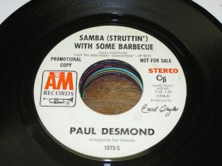 Paul Desmond 70s LATIN JAZZ POP DJ 45 Samba with Some Barbecue / Lady