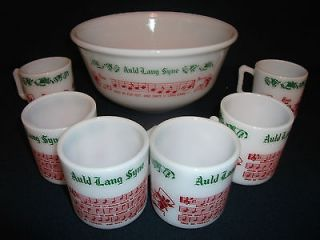 Vintage Tom and Jerry Punch Bowl Set / 6 Mugs   Auld Lang Syne   Hazel