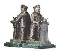 In Box 2 Large Navigating Sea Captain Bronzed & Green Marble Bookends