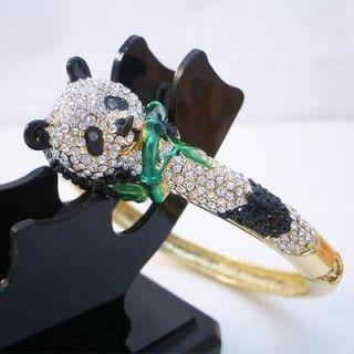 Chinese Panda Bracelet Bangle Cuff Austrian Rhinestone Ctystal Animal
