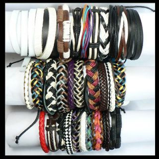 Charm Wristband Genuine Handmade Braided Leather Bracelet LB001 LB030