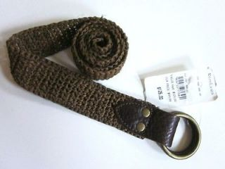 LAUREN RRL brown braided rope & leather double O ring belt 28 NWT