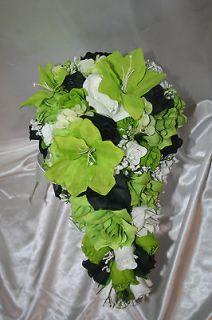 Package Lime Green Black Silk Wedding Flower Centerpieces 10 pcs