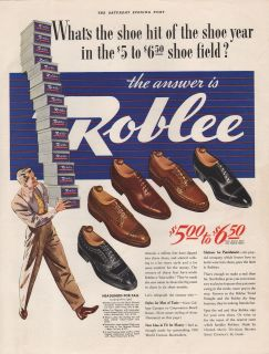 1939 VINTAGE ROBLEE MENS SHOES HIT YEAR FIELD PRINT AD