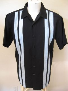 50s Rockabilly 2XLT Black Blue Panels Bowling Shirt 2Tone Rock & Roll