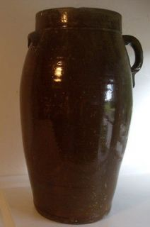 1800s pottery butter churn/akaline/​brown glaze
