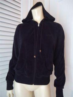 Black Terrie Cloth Zip Front Sweat Jacket Hoodie L Braid Design Arms