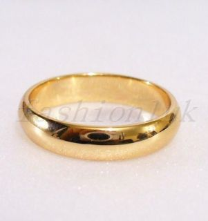18K Real Yellow Gold Plated Band Ring Basic Wedding Engagement Pinky