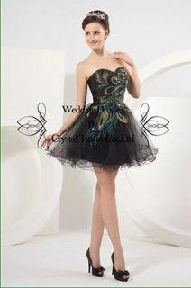 Short Peacock Prom Dress Wedding Dresses Bridesmaid Evening Gown