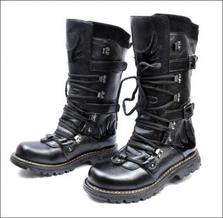 Punk Rock MENS BLACK GOTH PUNK ROCK BAND BUCKLE BOOTS CA