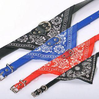 fashion pet dog bandana collar adjustable s m l xl faux leather