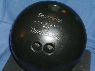 VINTAGE BRUNSWICK 15 LB POUND 3 OUNCE JET BLACK BEAUTY BOWLING BALL