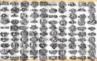 lots 15pcs antique jewelry mixed Gothic cameo mens rings popular