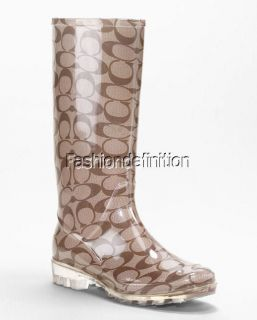 New Coach Signature Women Khaki PIXY Rain Boots Shoes Heels Multi