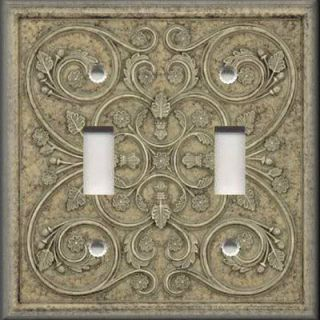 Light Switch Plate Cover   Wall Decor   French Pattern Image   Grey