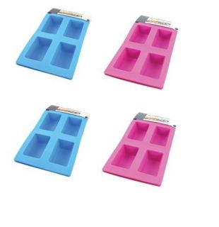 MINI LOAF PANS SILICONE MOULD TIN TRAY BROWNIE BAKE CAKE BLUE PINK