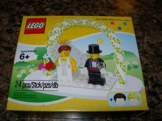 Minifigure WEDDING FAVOR SET Bride Groom CAKE TOPPER with base arch