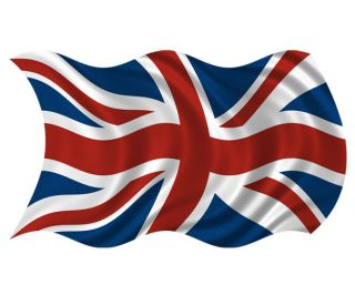 Britain Union Jack Waving Flag British UK Car Vinyl Bumper Sticker