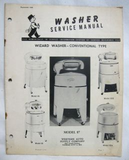 1948 WESTERN AUTO WIZARD Wringer Washer Machine SERVICE MANUAL