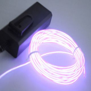 Neon Light Glow EL Wire Rope Tube Car Dance Party Transparent Pink E