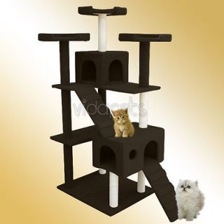 Dark Chocolate Brown Cat Tree Condo Furniture Scratch Post Pet House