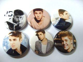6x Justin Bieber SET THREE Buttons Badges shirt pins pinbacks NEW