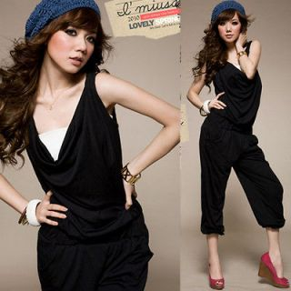 Women Cowl Neck Sleeveless Casual Pants Jumpsuits Rompers Overalls